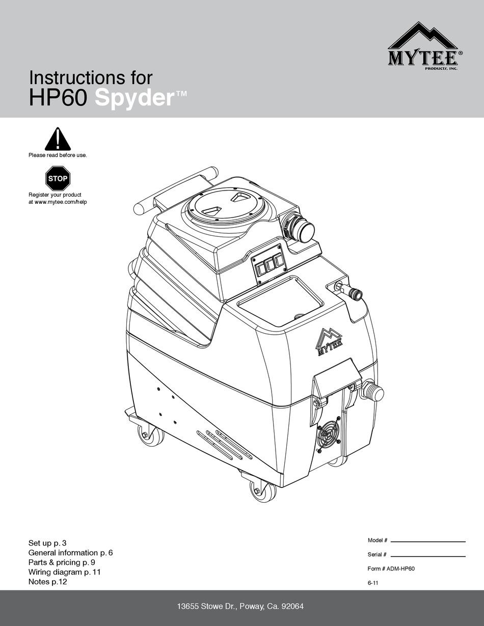 MYTEE SPYDER HP60 INSTRUCTIONS MANUAL Pdf Download | ManualsLib | Mytee Water Pump Wiring Diagram |  | ManualsLib