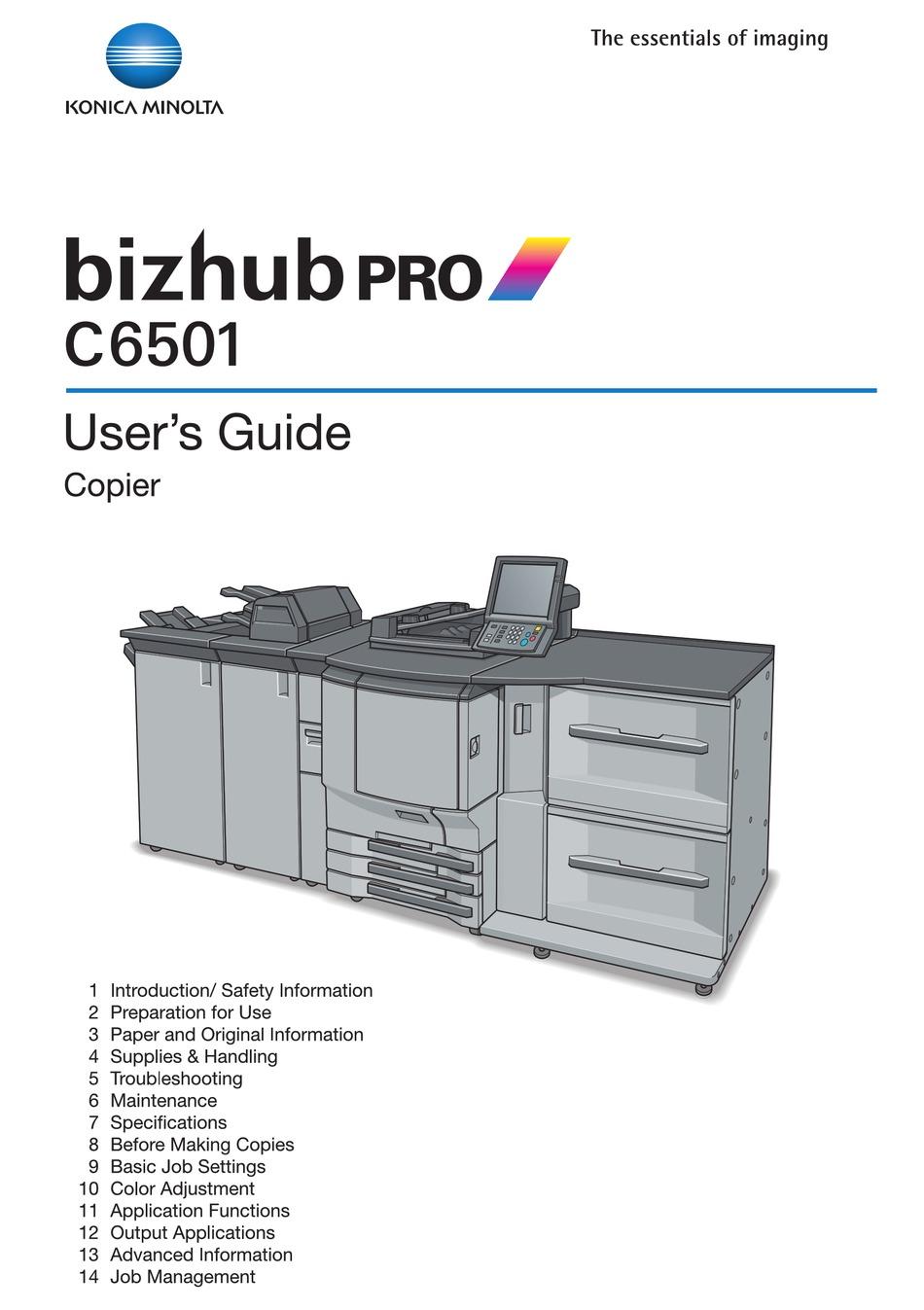 Konica Minolta Bizhub Pro C6501 User Manual Pdf Download Manualslib