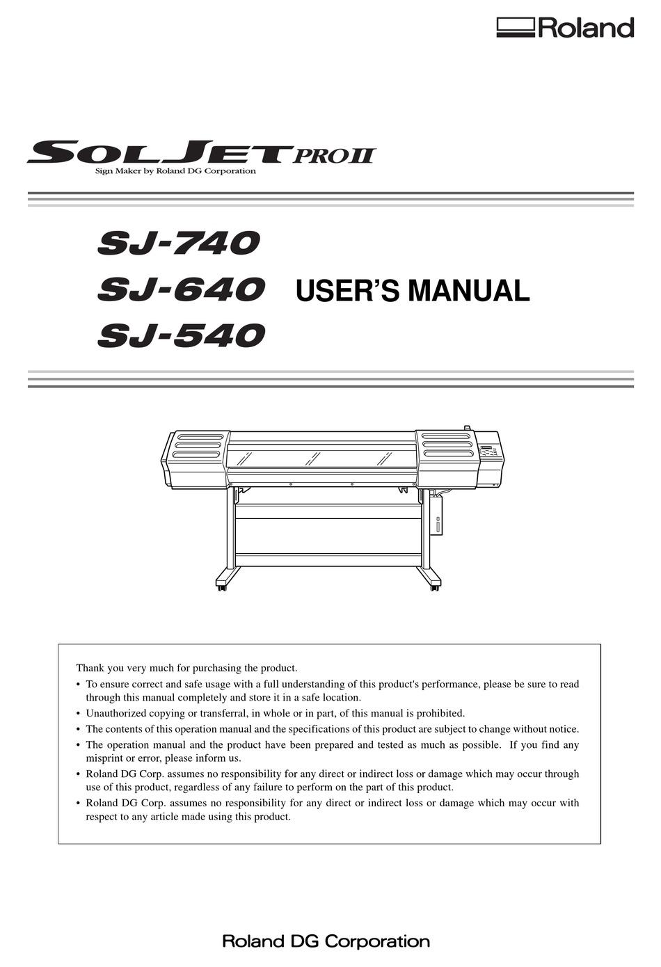 Roland Sj 740 User Manual Pdf Download Manualslib