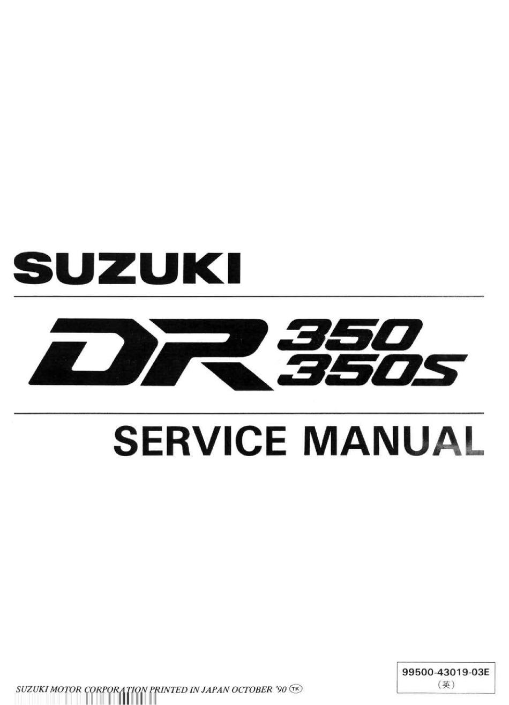 Suzuki Dr350 Service Manual Pdf Download Manualslib