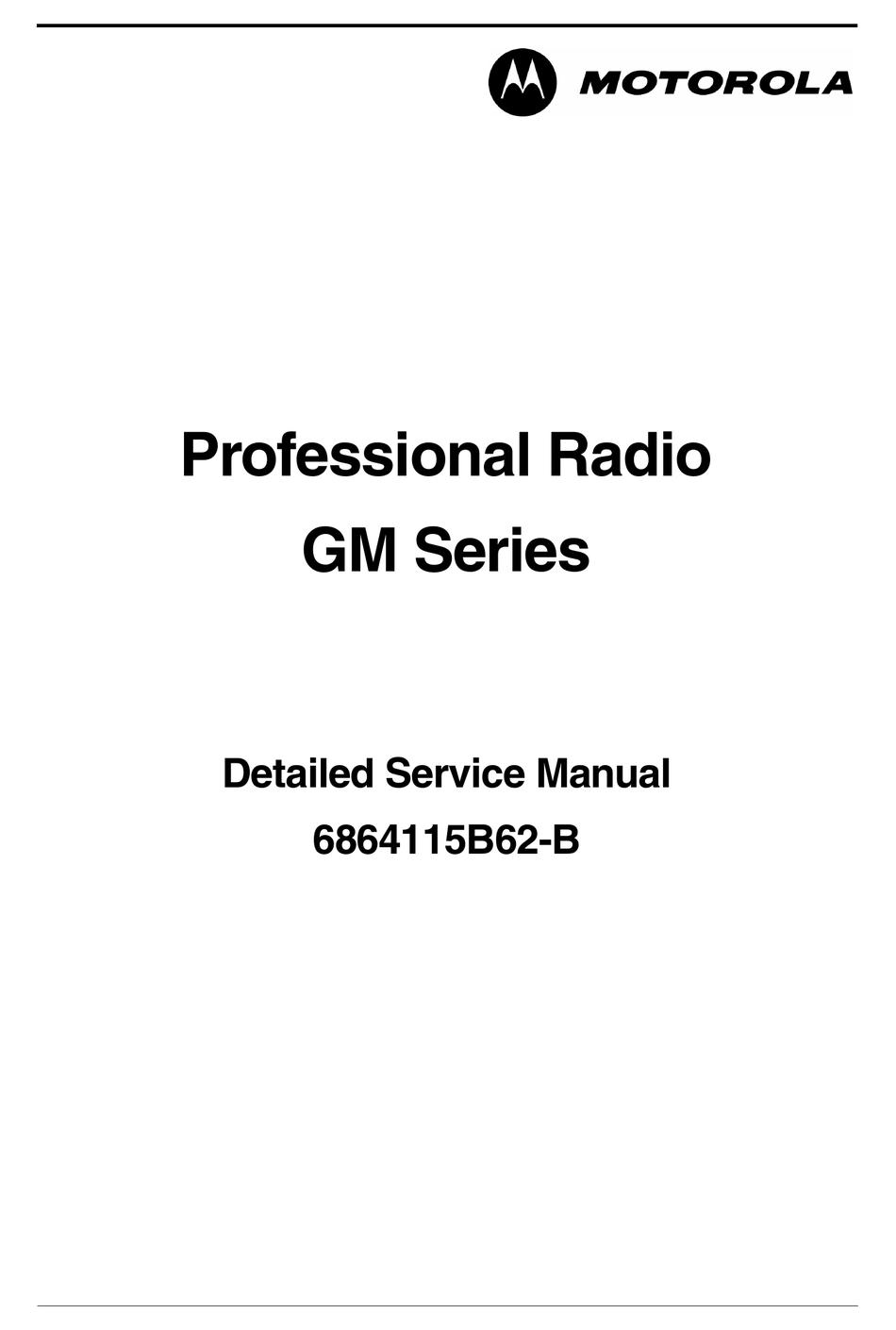 MOTOROLA GM SERIES SERVICE MANUAL Pdf Download | ManualsLib