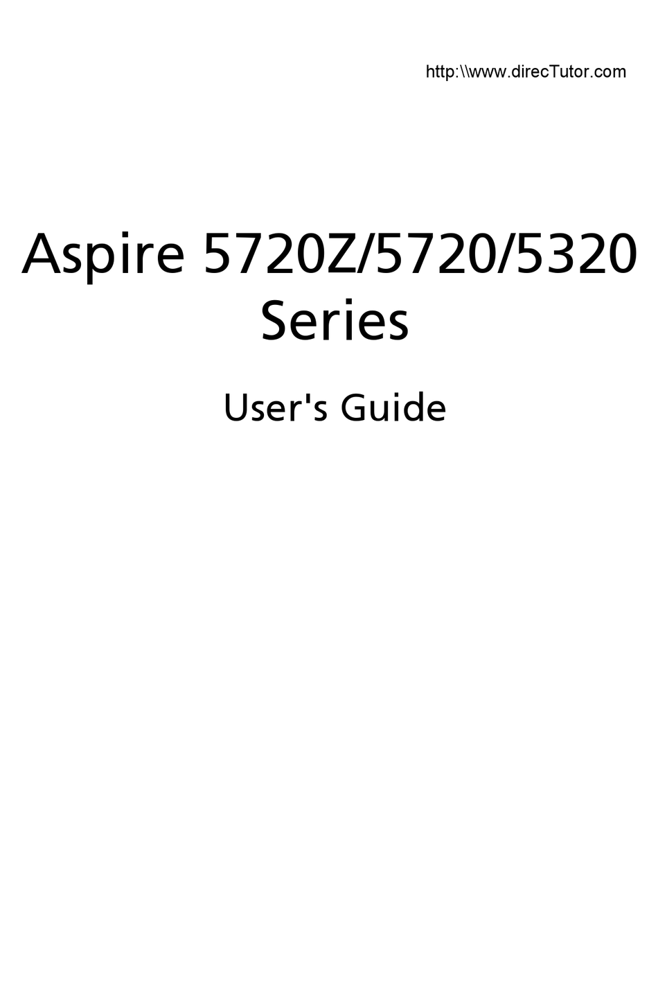 Acer Aspire 5720 Series User Manual Pdf Download Manualslib