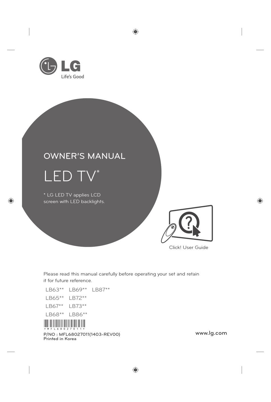 Lg Lb63 Series Owner S Manual Pdf Download Manualslib