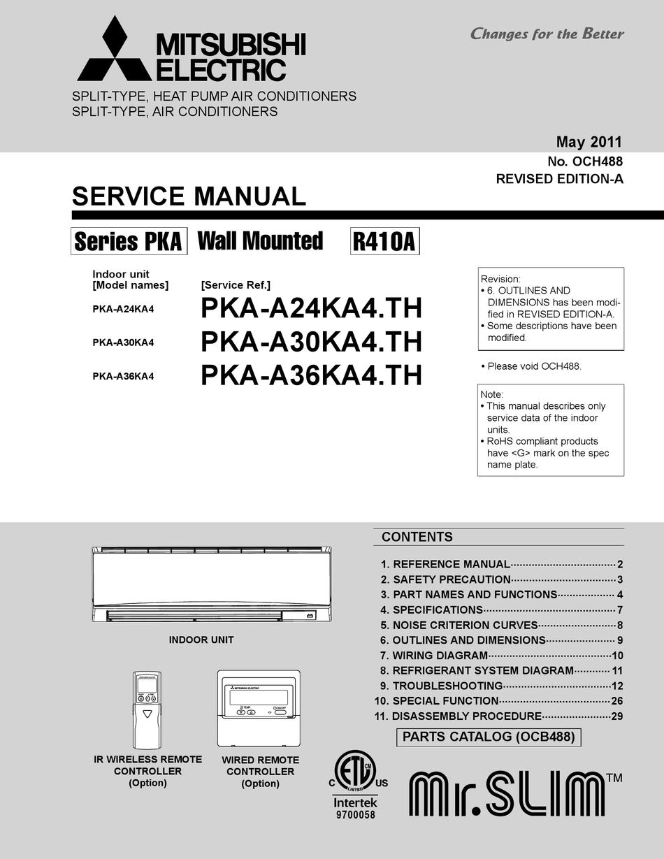MITSUBISHI ELECTRIC MR. SLIM PKA-A24KA4 SERVICE MANUAL Pdf Download |  ManualsLib | Split System Wiring Diagrams For Mitsubishi Pkaa24 |  | ManualsLib