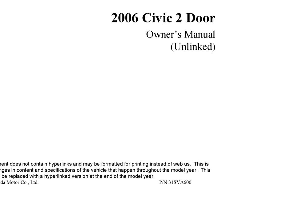 honda 2006 civic owner's manual pdf download   manualslib  manualslib