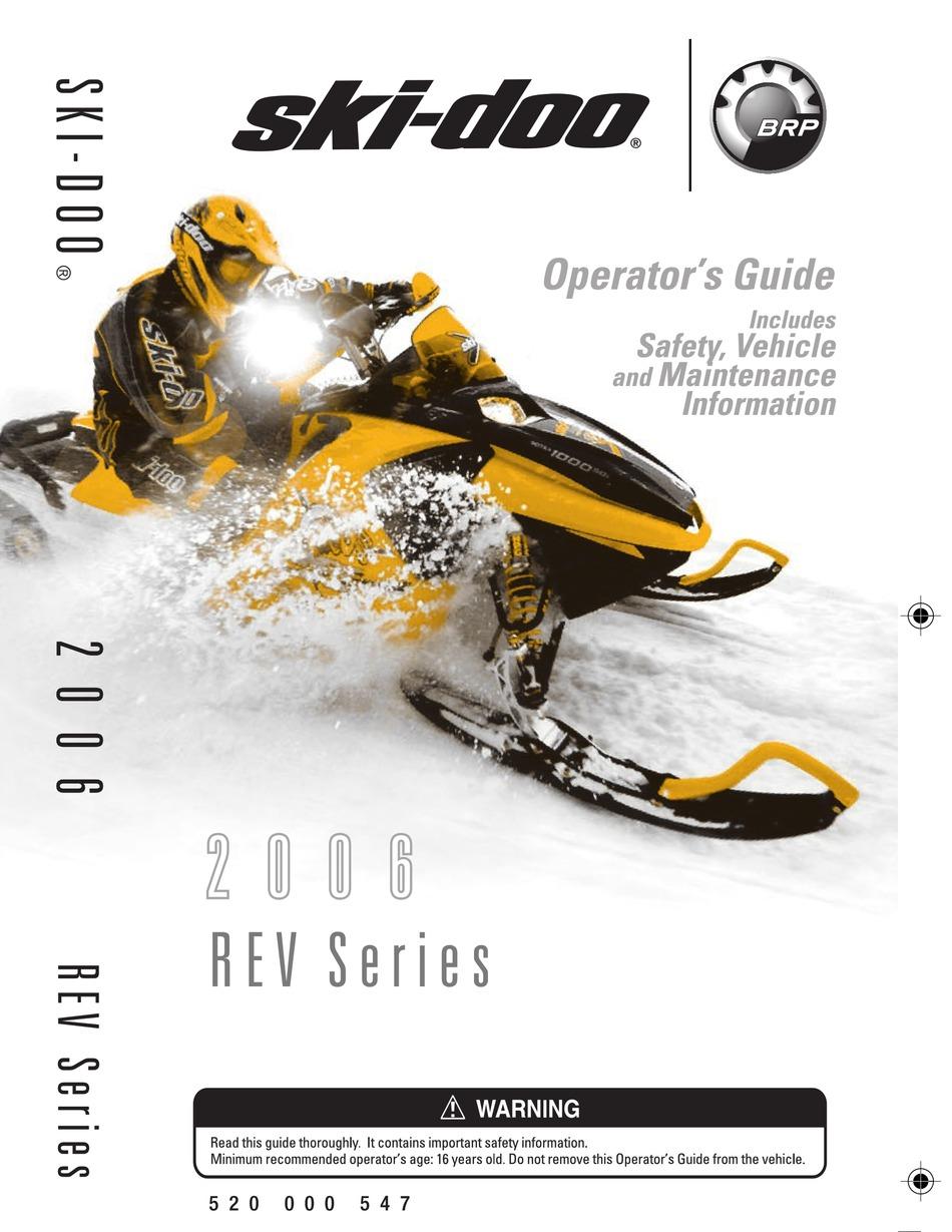 Ski Doo Rev Series Operator S Manual Pdf Download Manualslib