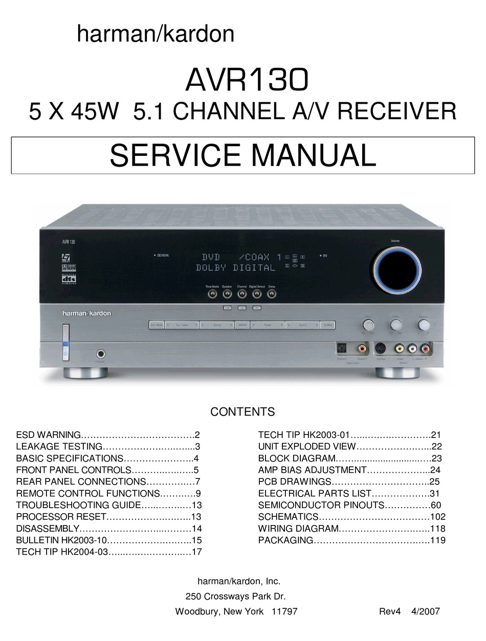 Harman Kardon Avr130 Service Manual Pdf Download Manualslib