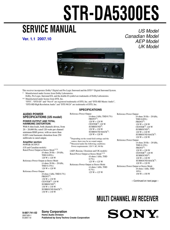 Sony Str Da5300es Service Manual Pdf Download Manualslib
