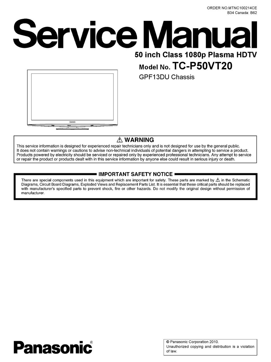Panasonic Tc P50vt20 Service Manual Pdf Download Manualslib