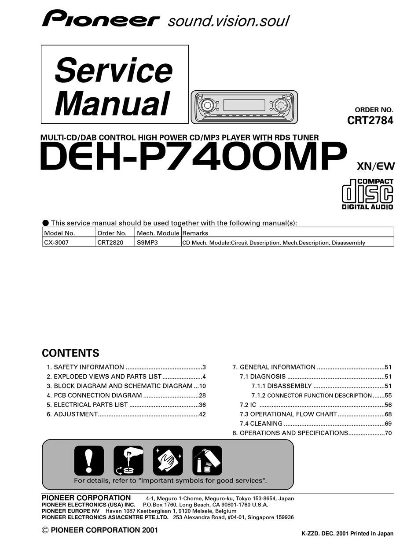 pioneer deh-p7400mp service manual pdf download | manualslib  manualslib