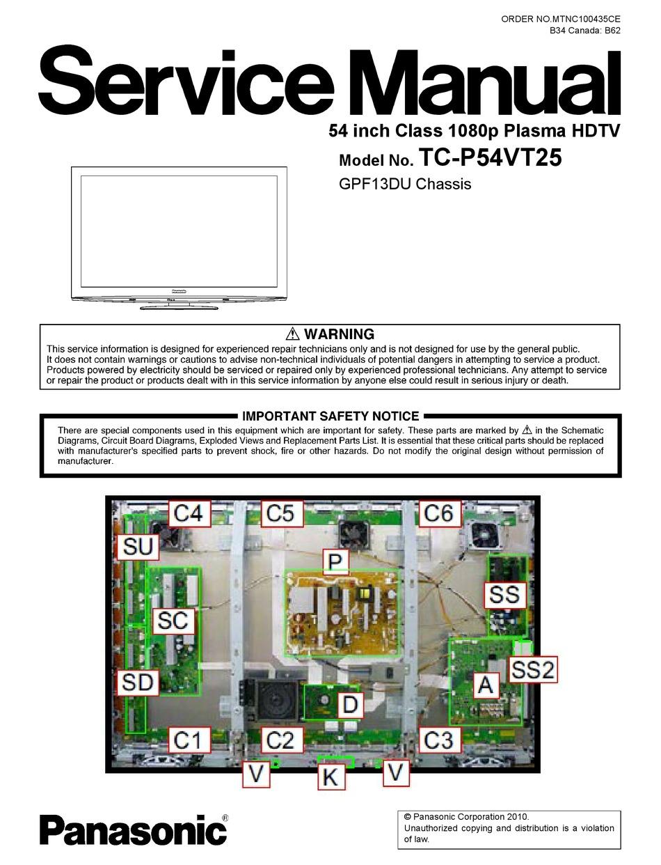 Panasonic Tc P54vt25 Service Manual Pdf Download Manualslib