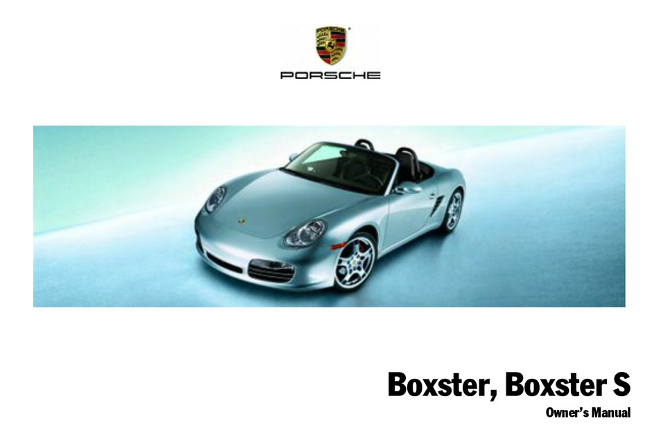 Porsche Boxster Owner S Manual Pdf Download Manualslib
