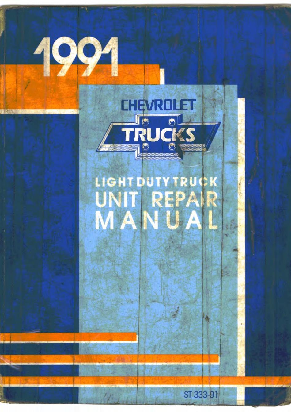 Chevrolet 1991 Light Duty Truck Repair Manual Pdf Download Manualslib