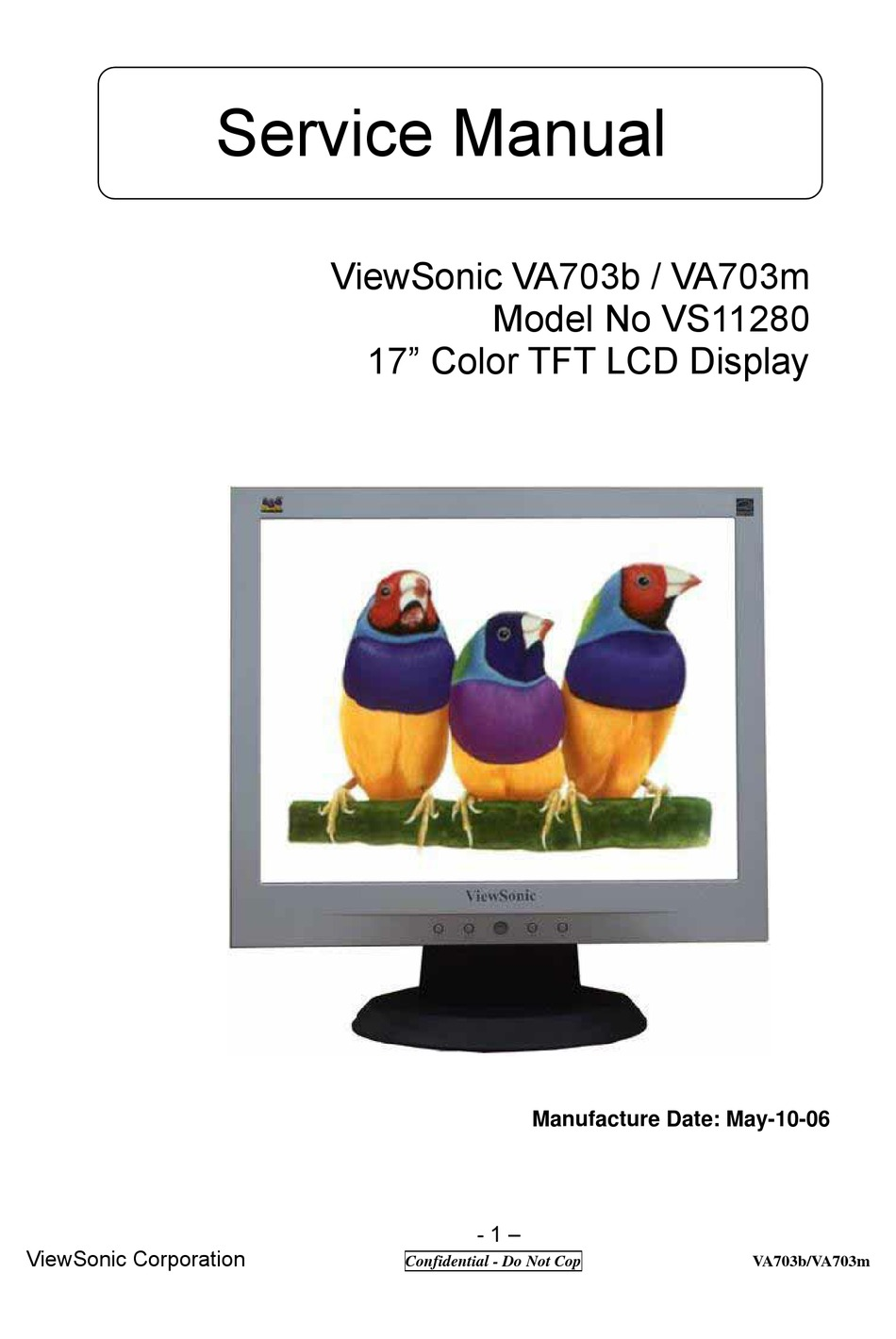 Viewsonic Va703b Service Manual Pdf Download Manualslib