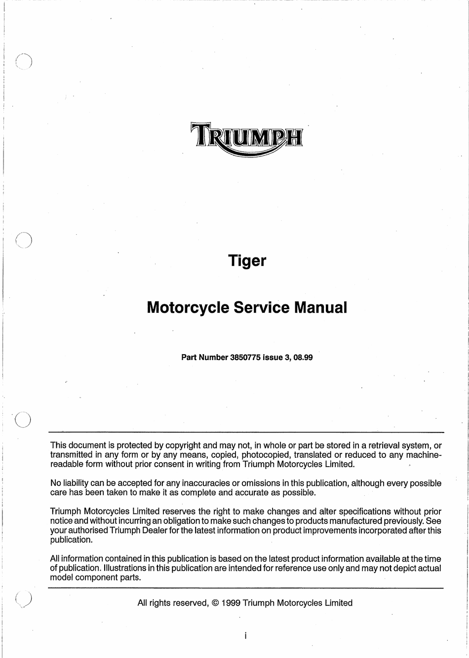 Triumph Tiger Service Manual Pdf Download Manualslib