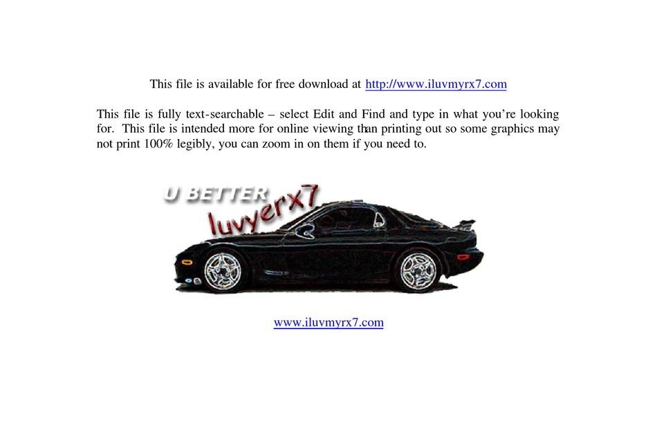 Mazda 1983 Rx7 Service Manual Pdf Download Manualslib