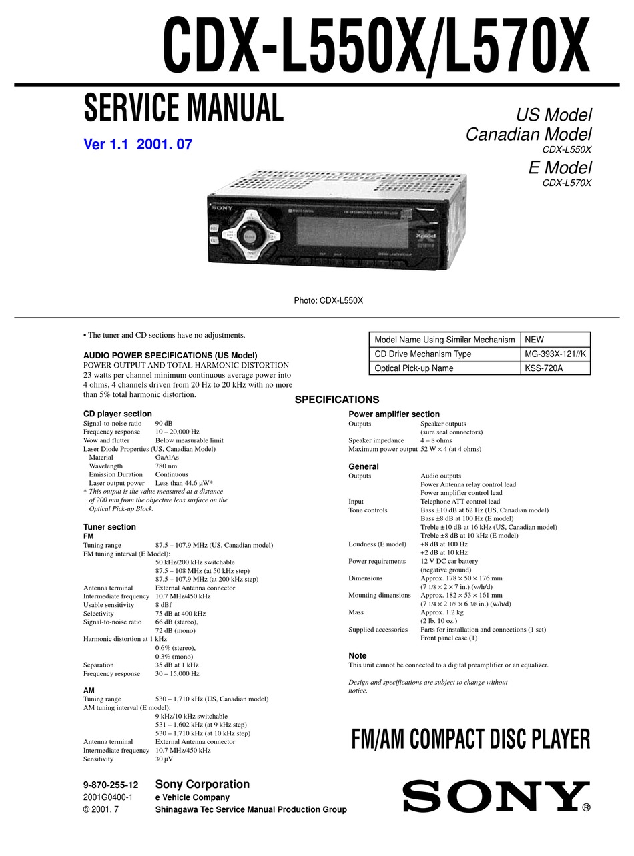 sony cdxl550x service manual pdf download  manualslib