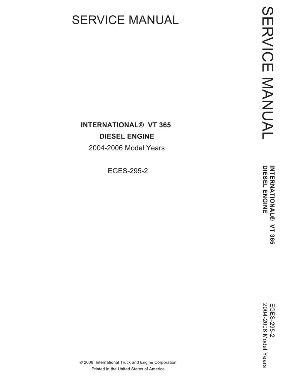 International Vt 365 Service Manual Pdf Download Manualslib