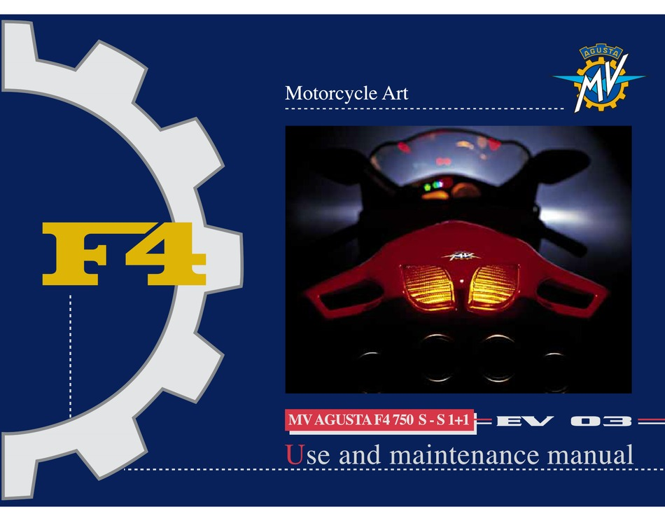 Mv Agusta F4 750 Use And Maintenance Manual Pdf Download Manualslib