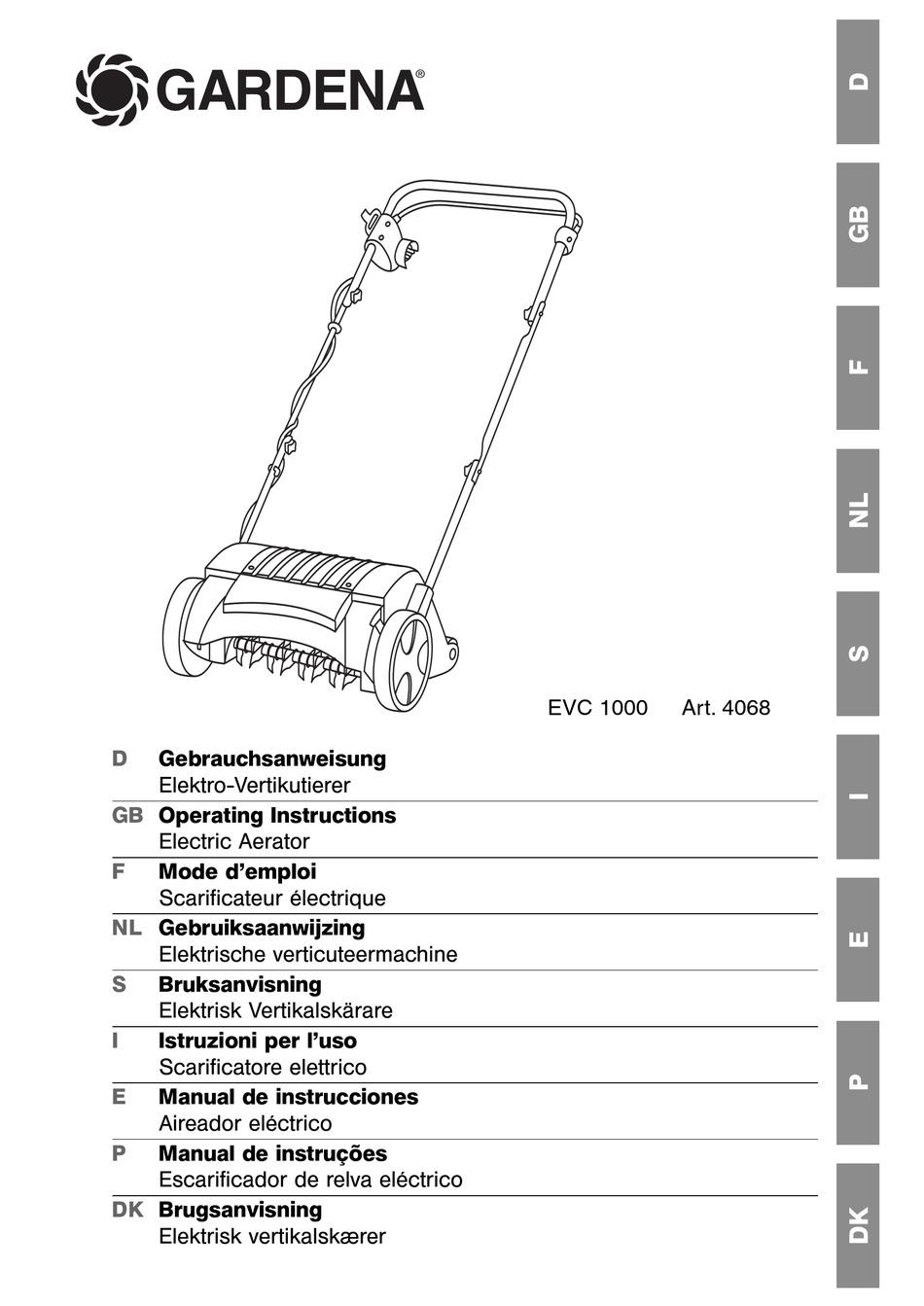Gardena Electric Lawn Aerator Evc 1000
