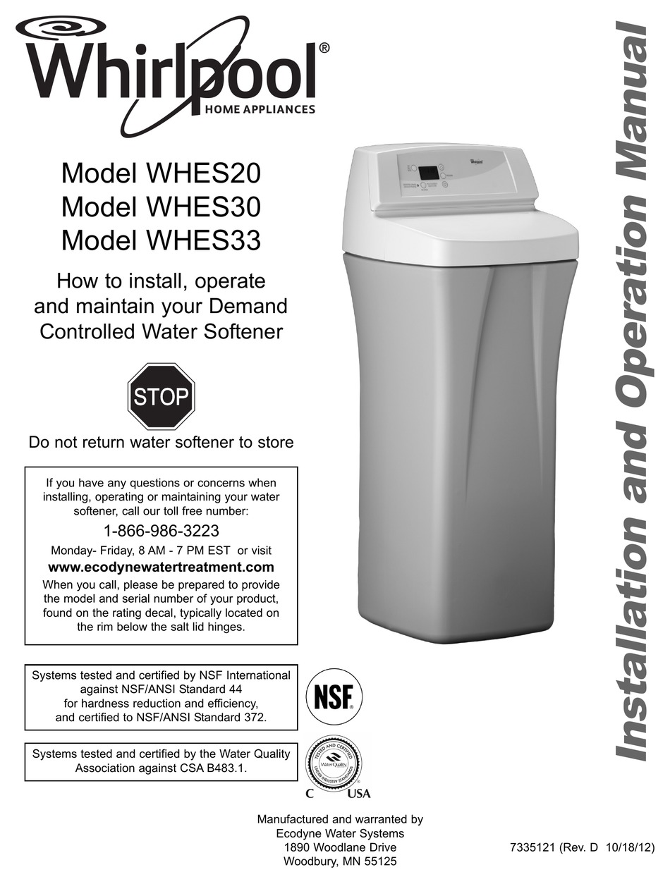 WHIRLPOOL WHES33 INSTALLATION AND OPERATION MANUAL Pdf Download | ManualsLib | Whirlpool Water Softener Wiring Diagram |  | ManualsLib