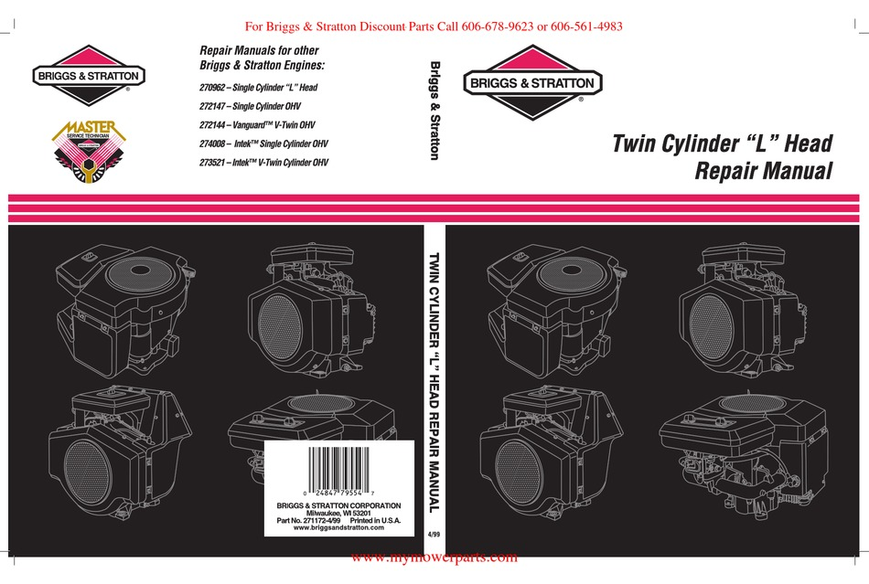Briggs Stratton Twin Cylinder L Head Repair Manual Pdf Download Manualslib