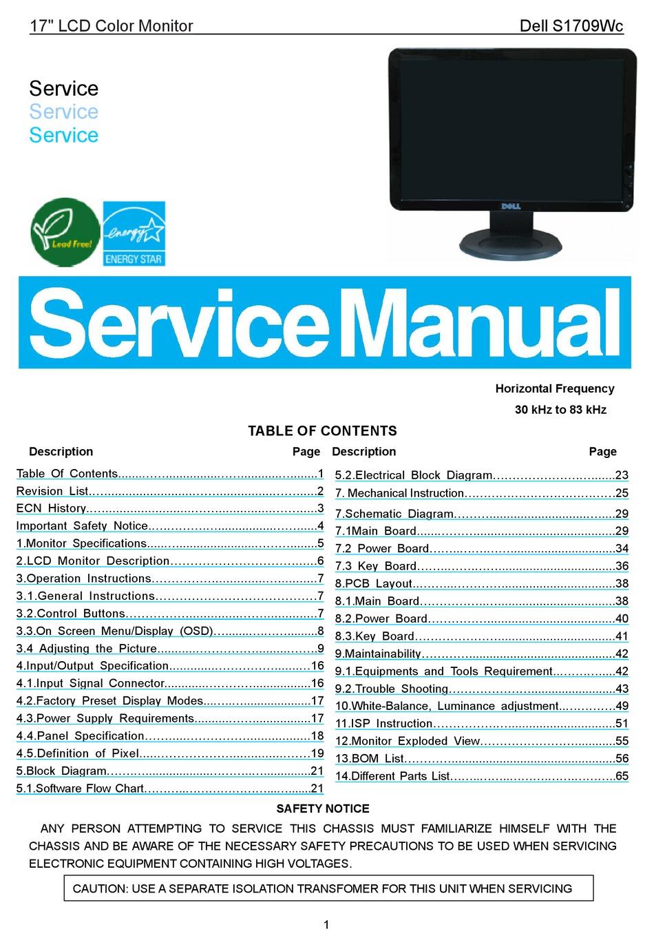 DELL S1709WC SERVICE MANUAL Pdf Download | ManualsLib