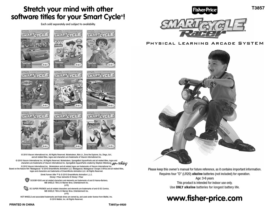 Fisher Price Smart Cycle Racer T3857 Owner S Manual Pdf Download Manualslib