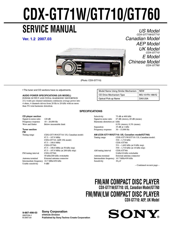 sony cdxgt71w service manual pdf download