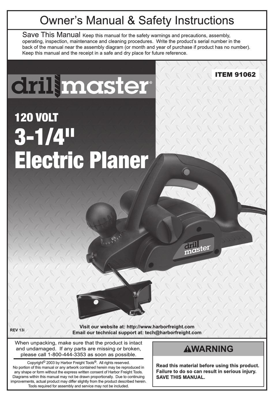 DRILL MASTER 91062 OWNER'S MANUAL & SAFETY INSTRUCTIONS Pdf Download |  ManualsLibManualsLib