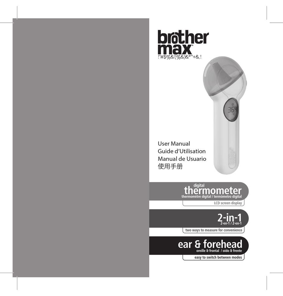 BROTHER MAX DIGITAL THERMOMETER USER MANUAL Pdf ...