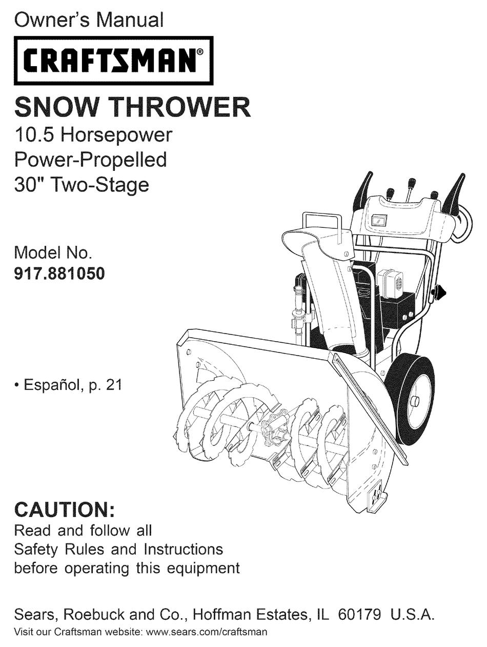 Craftsman 917 881050 Owner S Manual Pdf Download Manualslib