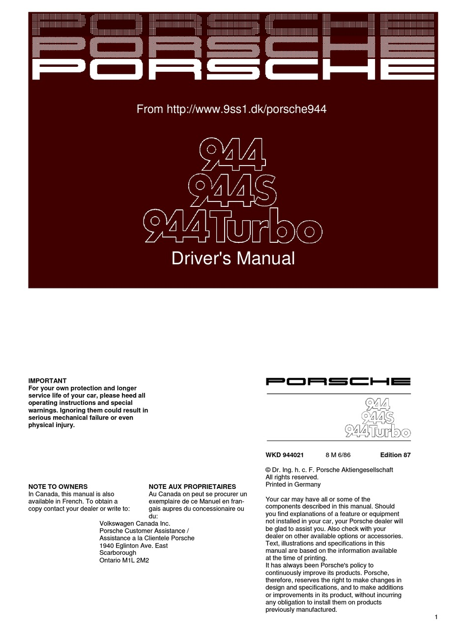 Porsche 944 Driver Manual Pdf Download Manualslib