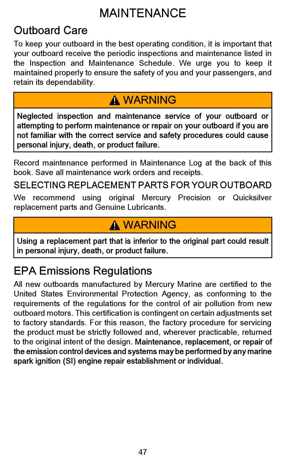 MERCURY OUTBOARD MOTOR USER MANUAL Pdf Download | ManualsLib