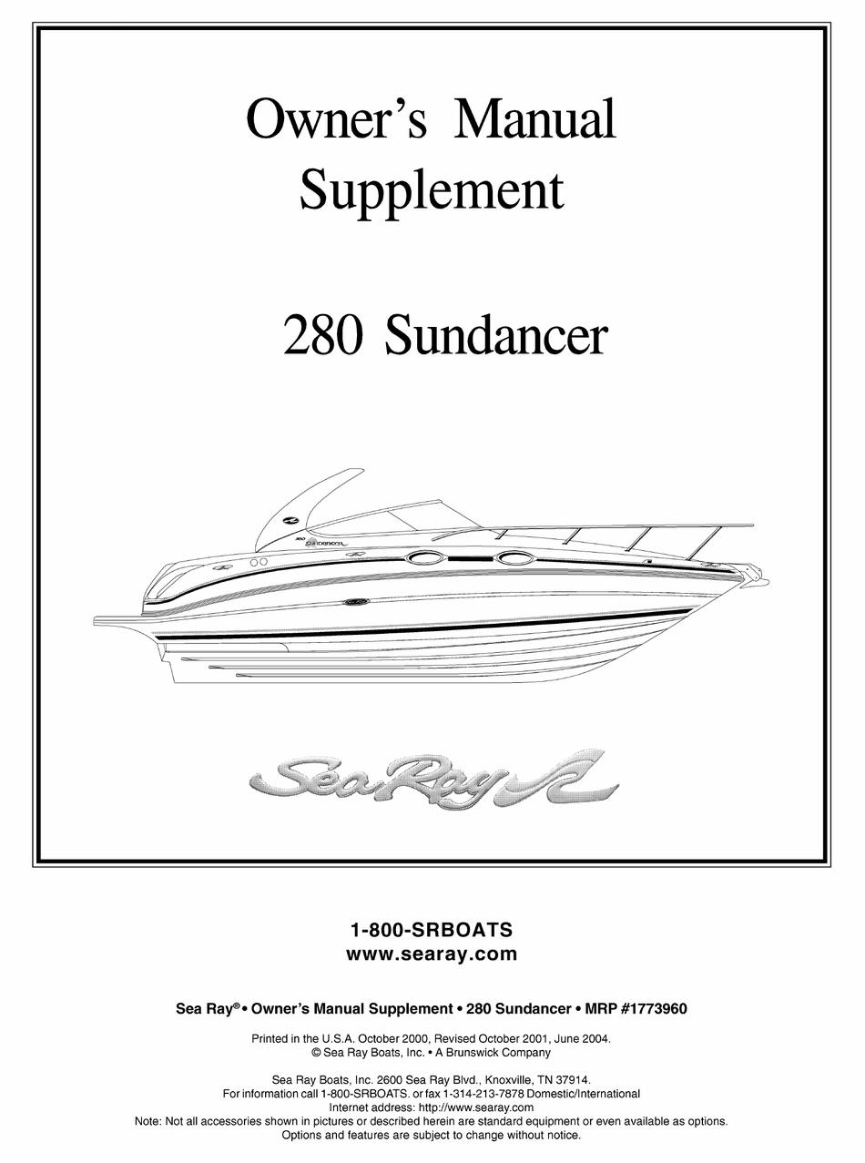 Sea Ray 280 Sundancer Owner S Manual Pdf Download Manualslib