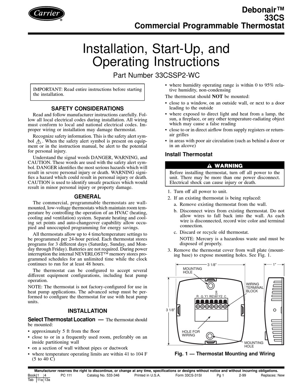Carrier Debonair 33cs Installation And Operating Instructions Manual Pdf Download Manualslib