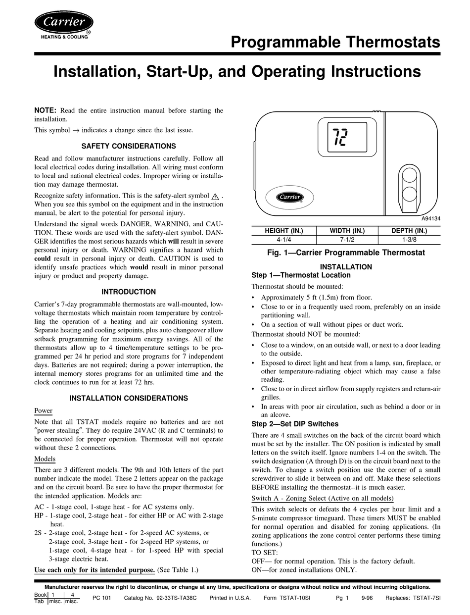 Carrier Programmable Thermostats Installation Start Up And Operating Instructions Manual Pdf Download Manualslib