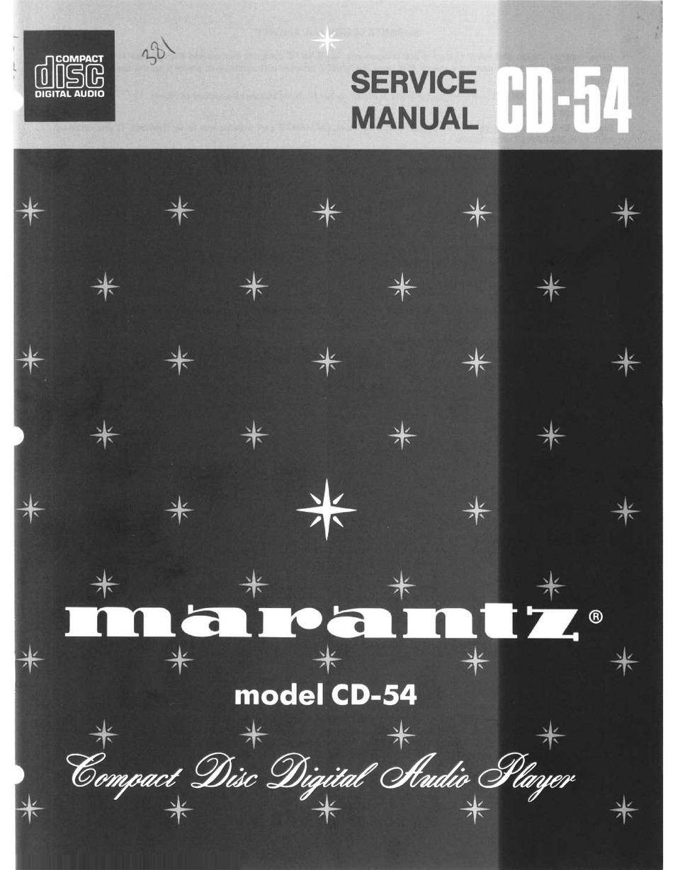 Marantz Cd 54 Service Manual Pdf Download Manualslib