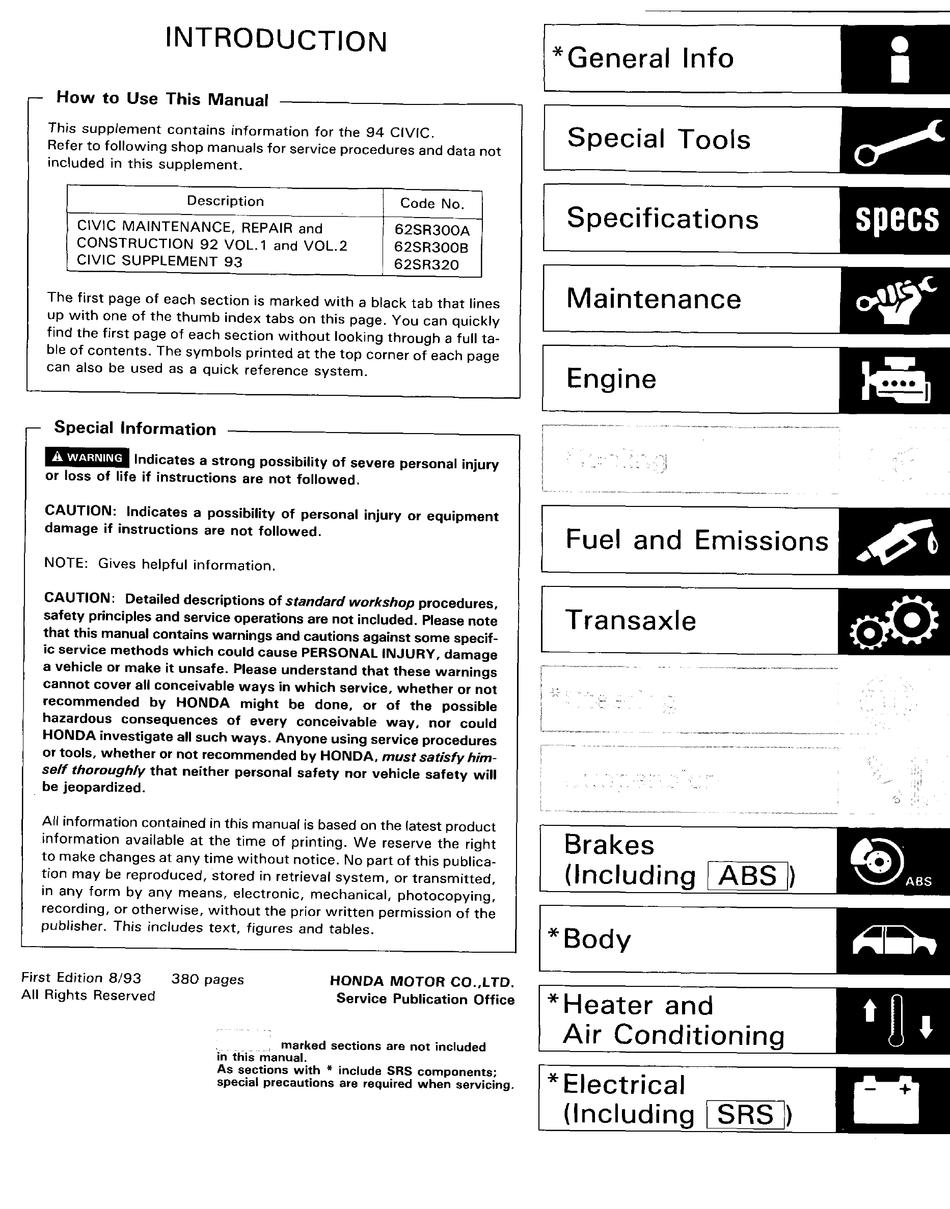 1994 Honda Civic Electrical Troubleshooting Diagnostic Procedures Service Manual