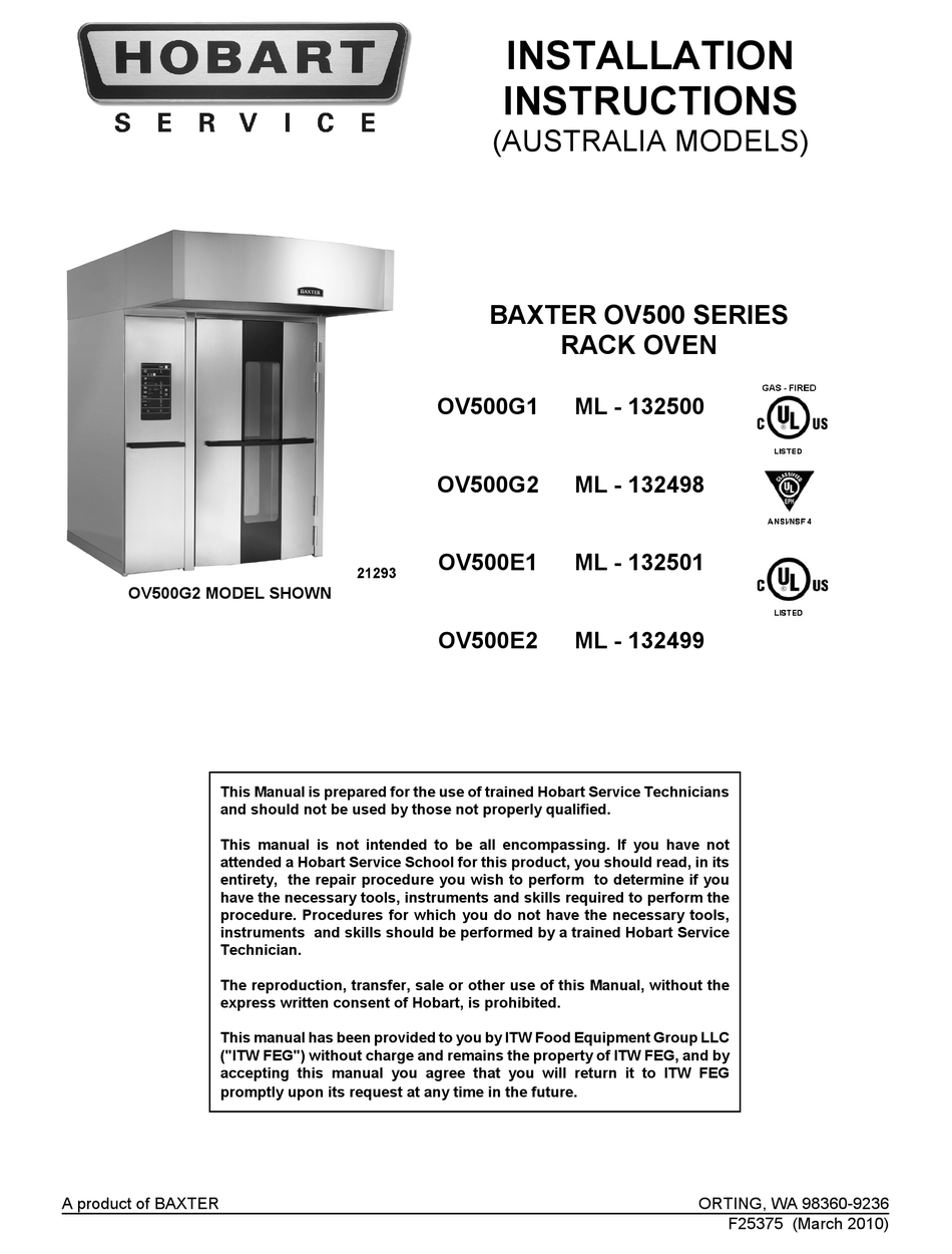 HOBART BAXTER OV500G1 INSTALLATION INSTRUCTIONS MANUAL Pdf Download    ManualsLib   Baxter Oven Wiring Schematic Oven      ManualsLib