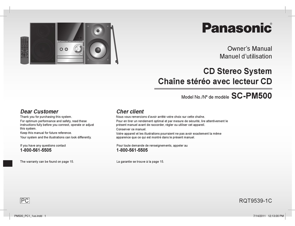 Panasonic Sc Pm500 Owner S Manual Pdf Download Manualslib