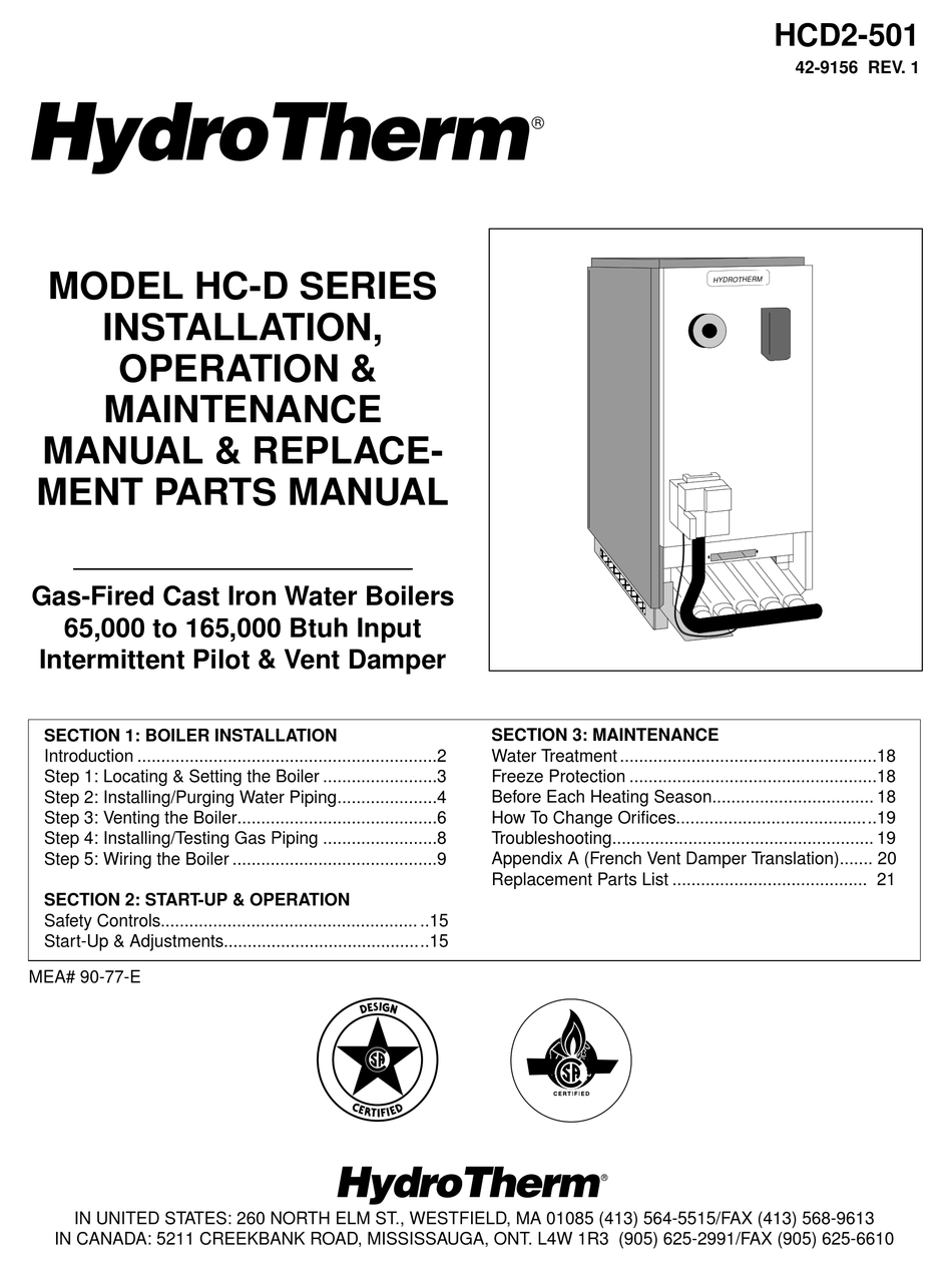 HYDROTHERM HC-65 INSTALLATION OPERATION & MAINTENANCE Pdf Download |  ManualsLib | Hydrotherm Furnace Wiring Diagram |  | ManualsLib