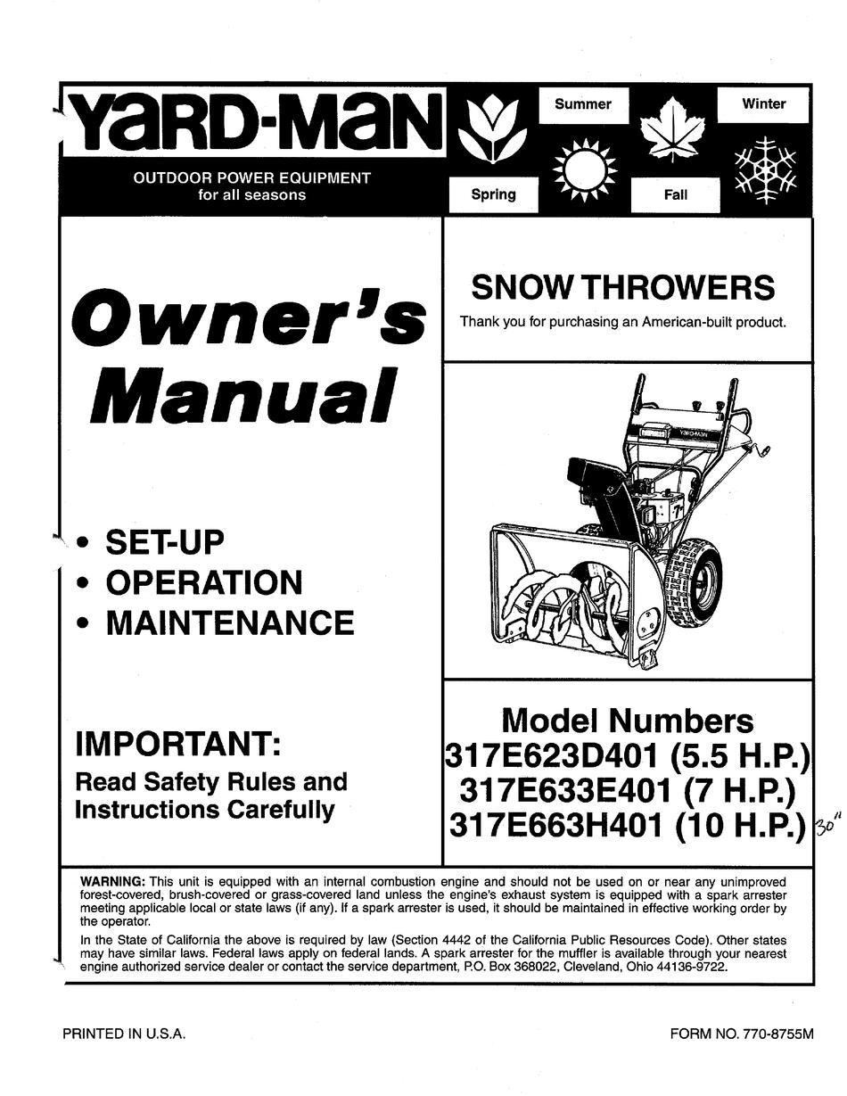 Yard Man 317e623d301 5 5 H P Owner S Manual Pdf Download Manualslib