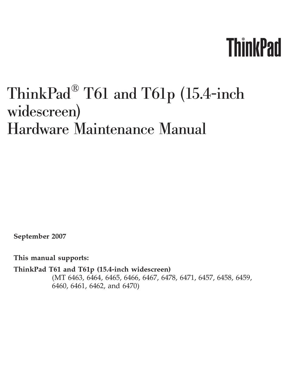 Lenovo Thinkpad T61 Service Manual Pdf Download Manualslib