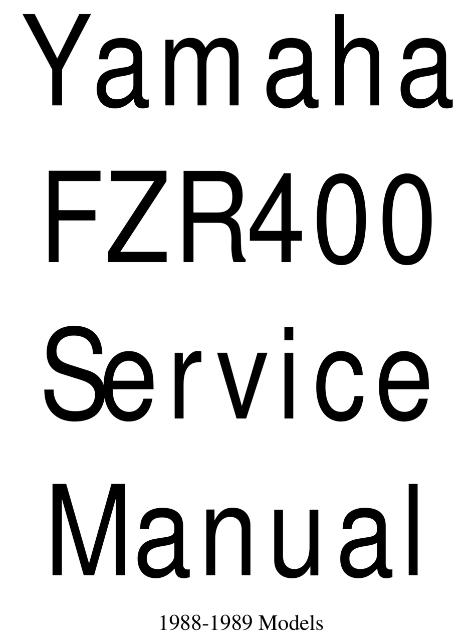 Yamaha Fzr400 1988 1989 Service Manual Pdf Download Manualslib