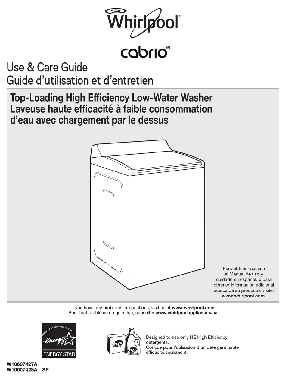 WHIRLPOOL CABRIO USE & CARE MANUAL Pdf Download   ManualsLib