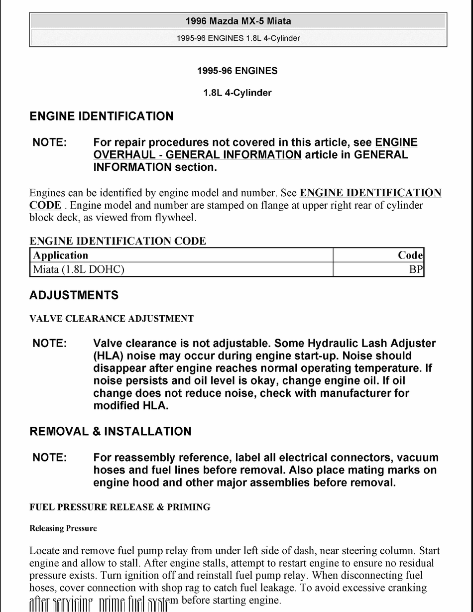 Mazda Miata 1 8l Dohc Manual Pdf Download Manualslib