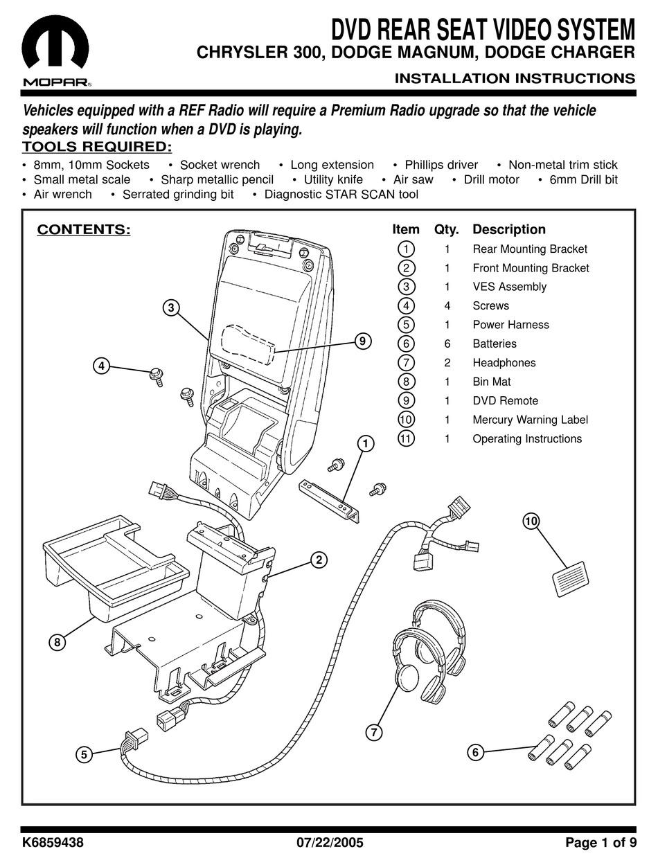 MOPAR DVD REAR SEAT VIDEO SYSTEM INSTALLATION INSTRUCTIONS MANUAL Pdf  Download   ManualsLibManualsLib