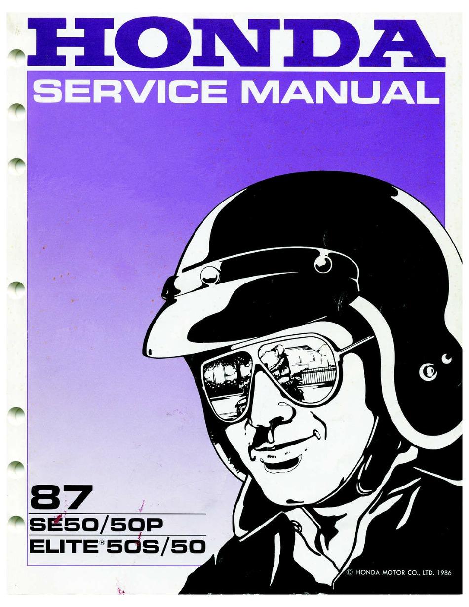 Honda Se50 1987 Service Manual Pdf Download Manualslib