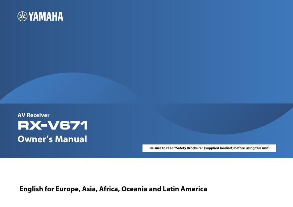 Yamaha Rx V671 Owner S Manual Pdf Download Manualslib